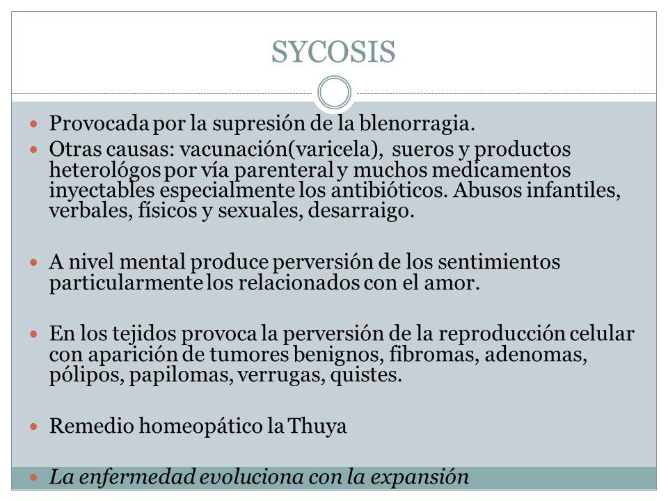 SYCOSIS Provocada por la supresión de la blenorragia. Otras causas: vacunación(varicela), sueros y productos heterológos por vía parenteral y muchos m