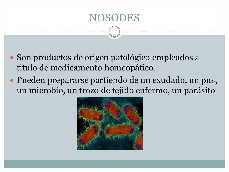 NOSODES Son productos de origen patológico empleados a titulo de medicamento homeopático. Pueden prepararse partiendo de un exudado, un pus, un microb