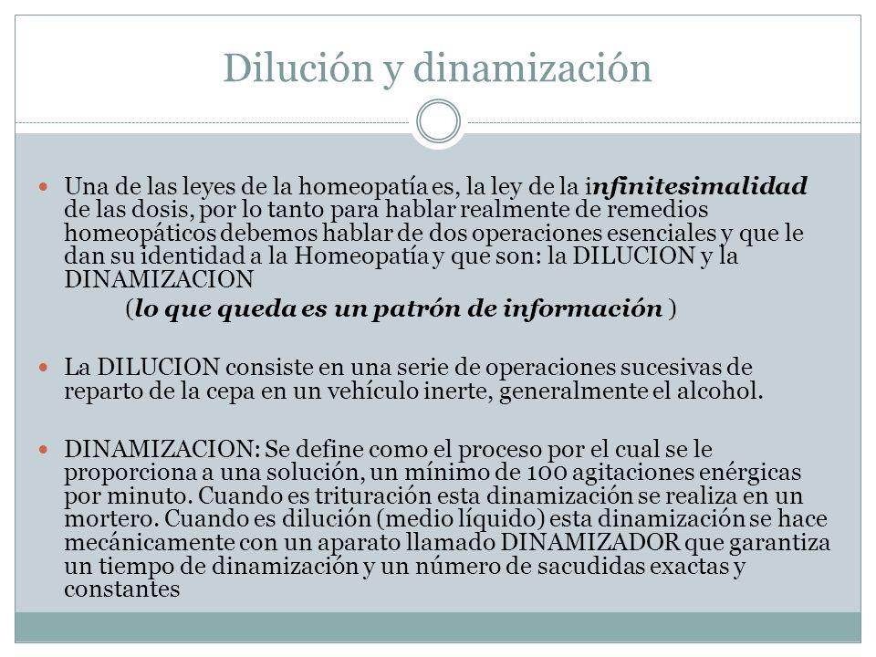 Dilución y dinamización Una de las leyes de la homeopatía es, la ley de la infinitesimalidad de las dosis, por lo tanto para hablar realmente de remed