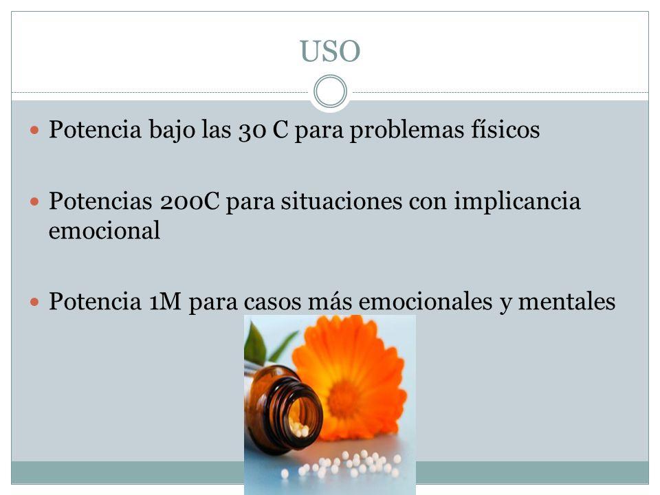 USO Potencia bajo las 30 C para problemas físicos Potencias 200C para situaciones con implicancia emocional Potencia 1M para casos más emocionales y m