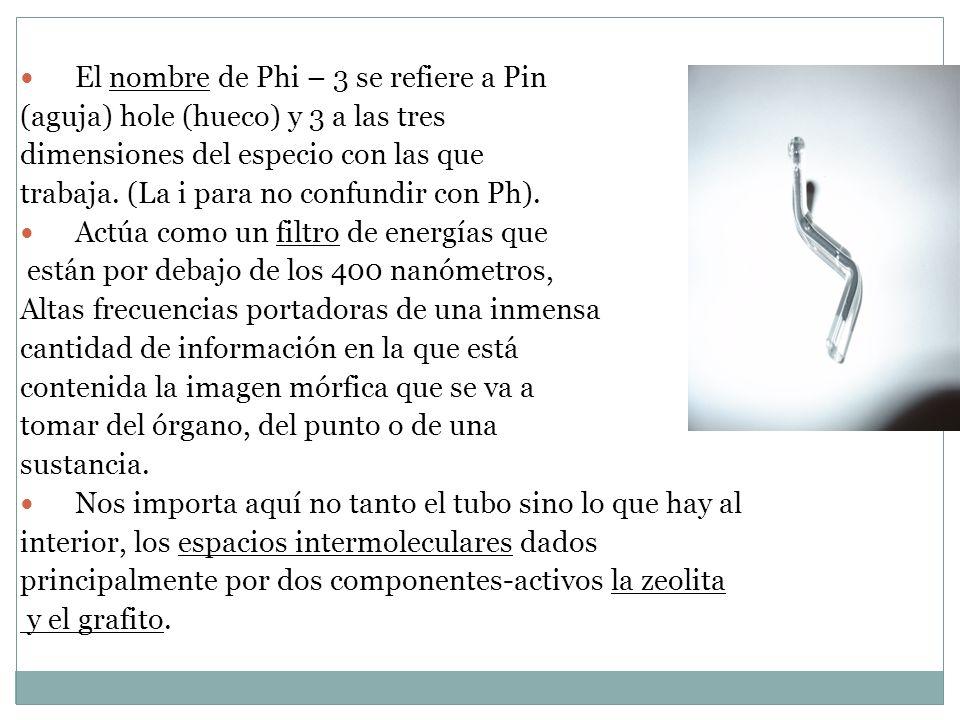 El nombre de Phi – 3 se refiere a Pin (aguja) hole (hueco) y 3 a las tres dimensiones del especio con las que trabaja. (La i para no confundir con Ph)