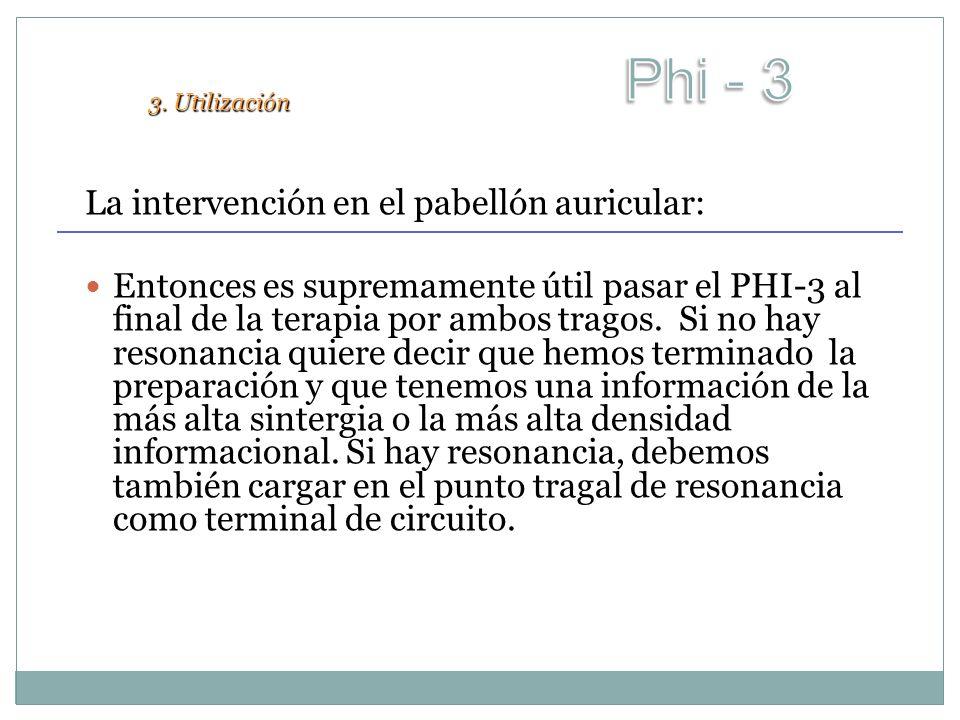 La intervención en el pabellón auricular: Entonces es supremamente útil pasar el PHI-3 al final de la terapia por ambos tragos. Si no hay resonancia q