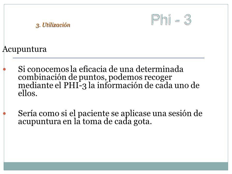 Acupuntura Si conocemos la eficacia de una determinada combinación de puntos, podemos recoger mediante el PHI-3 la información de cada uno de ellos. S