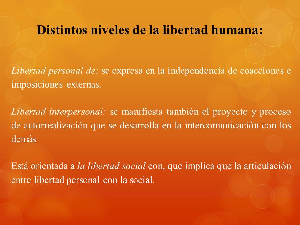 Distintos niveles de la libertad humana: Libertad personal de: se expresa en la independencia de coacciones e imposiciones externas. Libertad interper