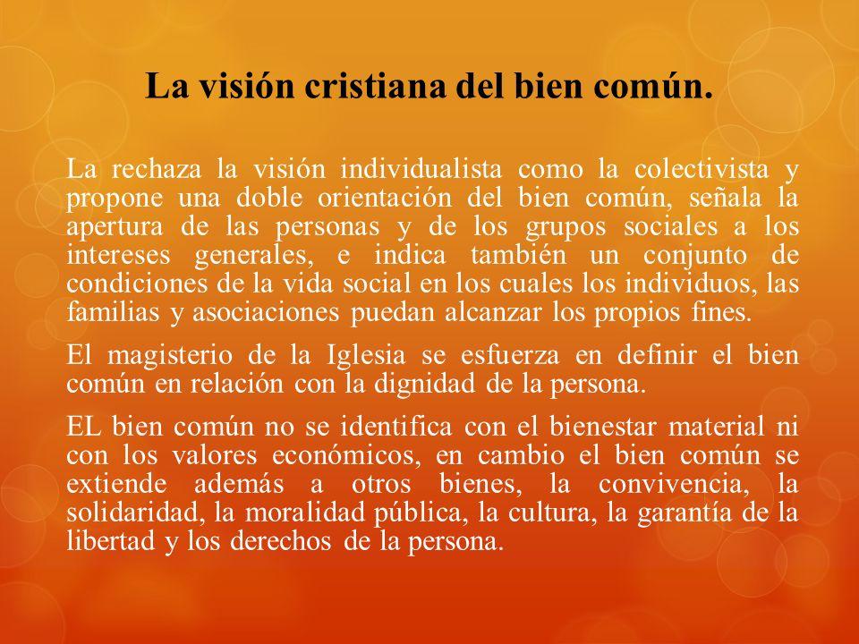 La visión cristiana del bien común. La rechaza la visión individualista como la colectivista y propone una doble orientación del bien común, señala la