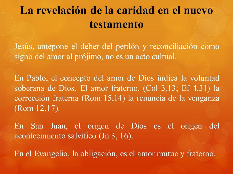La revelación de la caridad en el nuevo testamento Jesús, antepone el deber del perdón y reconciliación como signo del amor al prójimo, no es un acto cultual.