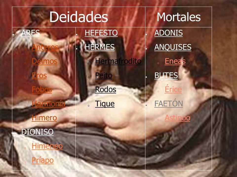 Deidades Mortales ARES o Anteros o Deimos o Eros o Fobos o Harmonía o Hímero DIONISO o Himeneo o Príapo HEFESTO HERMES o Hermafrodito o Peito o Rodos