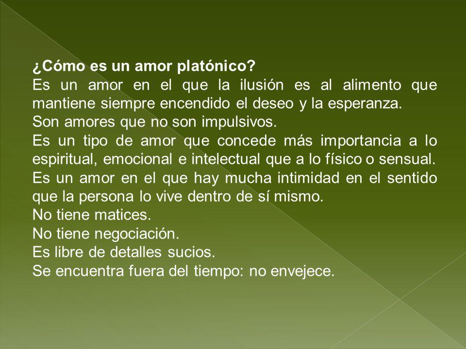 ¿Cómo es un amor platónico? Es un amor en el que la ilusión es al alimento que mantiene siempre encendido el deseo y la esperanza. Son amores que no s