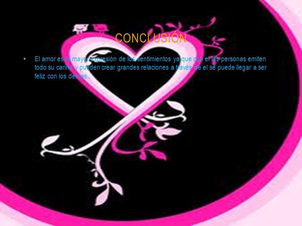 CONCLUSIÓN El amor es la mayor expresión de los sentimientos ya que con el las personas emiten todo su cariño y pueden crear grandes relaciones a través de el se puede llegar a ser feliz con los demas..