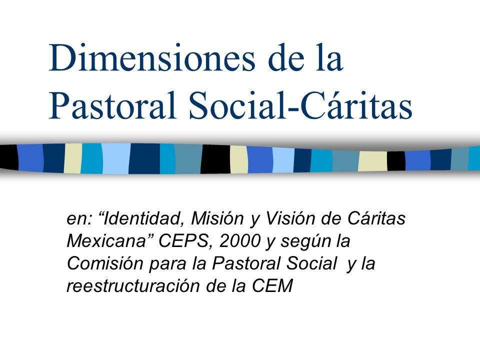 Dimensiones de la Pastoral Social-Cáritas en: Identidad, Misión y Visión de Cáritas Mexicana CEPS, 2000 y según la Comisión para la Pastoral Social y