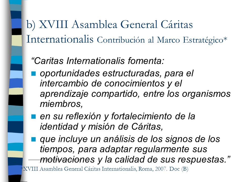 b) XVIII Asamblea General Cáritas Internationalis Contribución al Marco Estratégico* Caritas Internationalis fomenta: oportunidades estructuradas, par