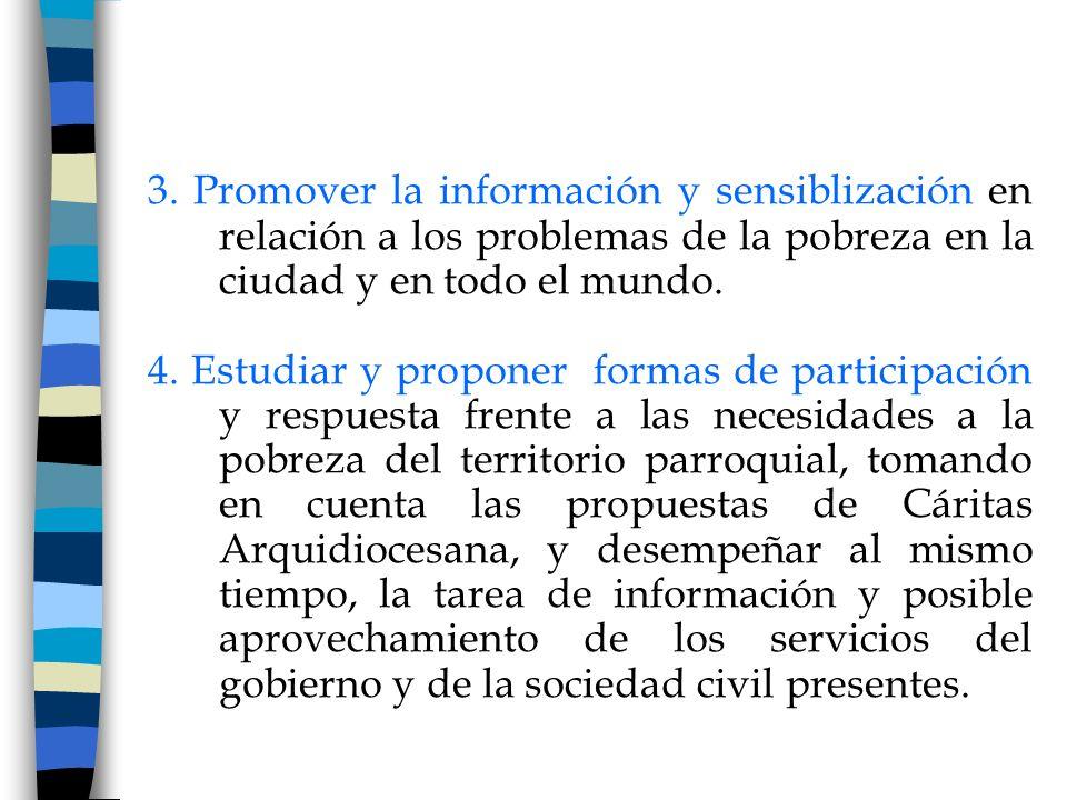 3. Promover la información y sensiblización en relación a los problemas de la pobreza en la ciudad y en todo el mundo. 4. Estudiar y proponer formas d