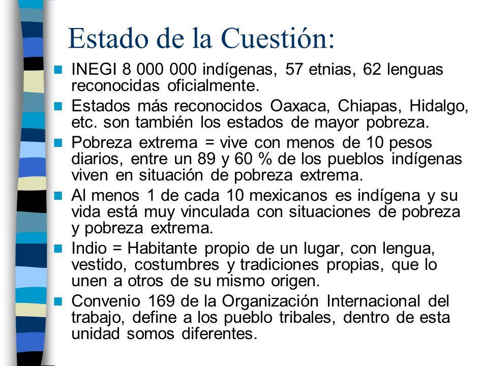 Estado de la Cuestión: INEGI 8 000 000 indígenas, 57 etnias, 62 lenguas reconocidas oficialmente. Estados más reconocidos Oaxaca, Chiapas, Hidalgo, et
