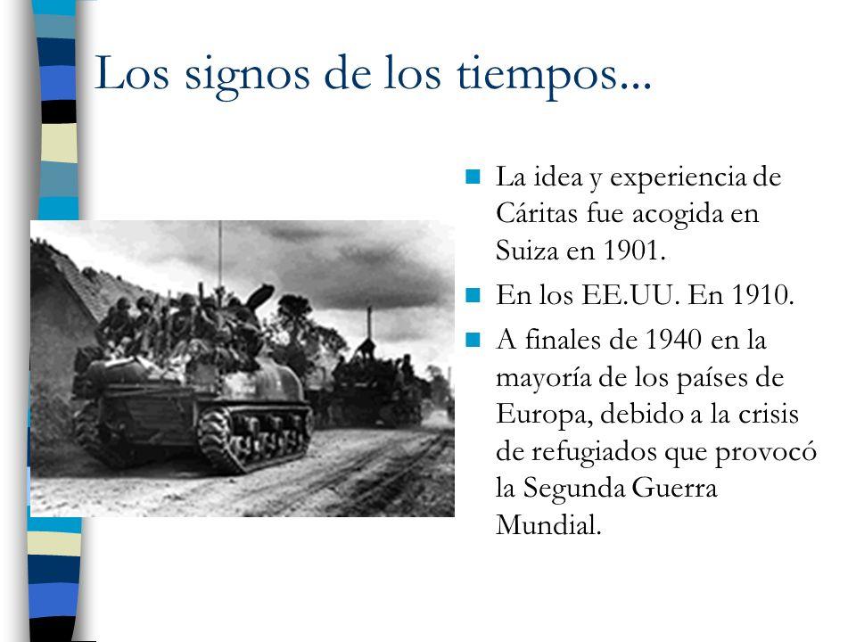 La idea y experiencia de Cáritas fue acogida en Suiza en 1901. En los EE.UU. En 1910. A finales de 1940 en la mayoría de los países de Europa, debido