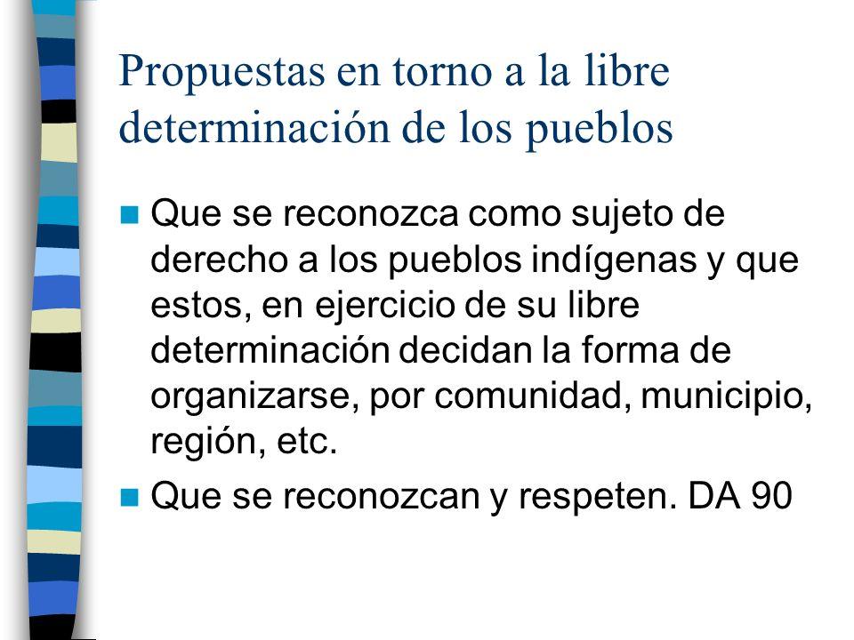 Propuestas en torno a la libre determinación de los pueblos Que se reconozca como sujeto de derecho a los pueblos indígenas y que estos, en ejercicio