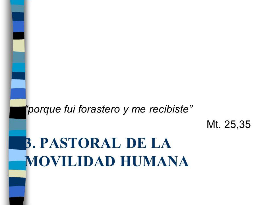 3. PASTORAL DE LA MOVILIDAD HUMANA porque fui forastero y me recibiste Mt. 25,35