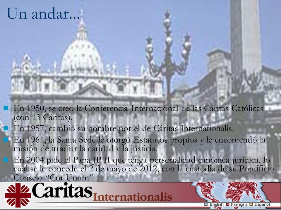En 1950, se creó la Conferencia Internacional de las Cáritas Católicas (con 13 Cáritas). En 1957, cambió su nombre por el de Cáritas Internationalis.