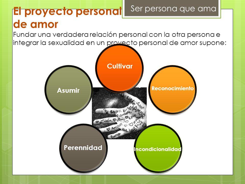 Ser persona que ama El proyecto personal de amor Fundar una verdadera relación personal con la otra persona e integrar la sexualidad en un proyecto pe