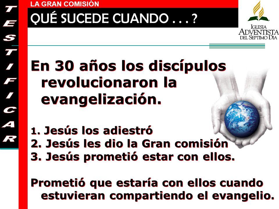 LA GRAN COMISIÓN En 30 años los discípulos revolucionaron la evangelización. 1. Jesús los adiestró 2. Jesús les dio la Gran comisión 3. Jesús prometió