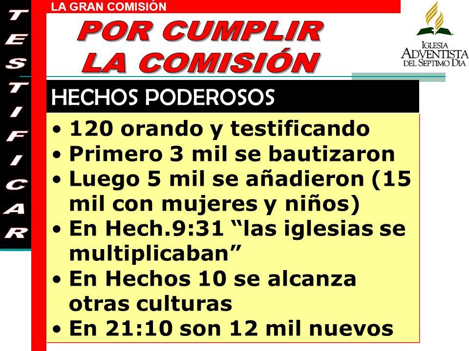 LA GRAN COMISIÓN 120 orando y testificando Primero 3 mil se bautizaron Luego 5 mil se añadieron (15 mil con mujeres y niños) En Hech.9:31 las iglesias