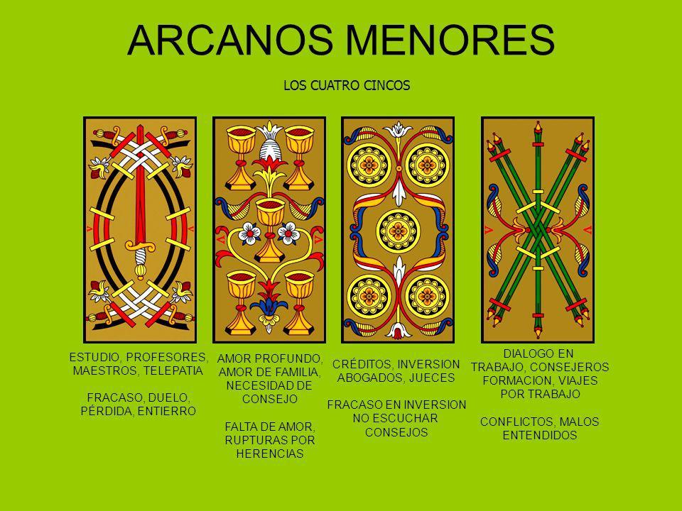 ARCANOS MENORES LOS CUATRO CINCOS ESTUDIO, PROFESORES, MAESTROS, TELEPATIA FRACASO, DUELO, PÉRDIDA, ENTIERRO AMOR PROFUNDO, AMOR DE FAMILIA, NECESIDAD