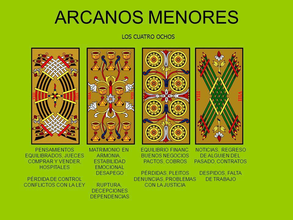 ARCANOS MENORES LOS CUATRO OCHOS PENSAMIENTOS EQUILIBRADOS, JUECES COMPRAR Y VENDER, HOSPITALES PÉRDIDA DE CONTROL CONFLICTOS CON LA LEY MATRIMONIO EN