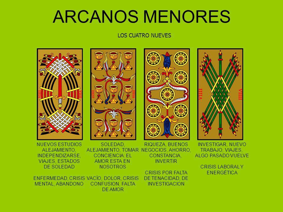 ARCANOS MENORES LOS CUATRO NUEVES NUEVOS ESTUDIOS ALEJAMIENTO, INDEPENDIZARSE, VIAJES, ESTADOS DE SOLEDAD ENFERMEDAD, CRISIS MENTAL, ABANDONO SOLEDAD,