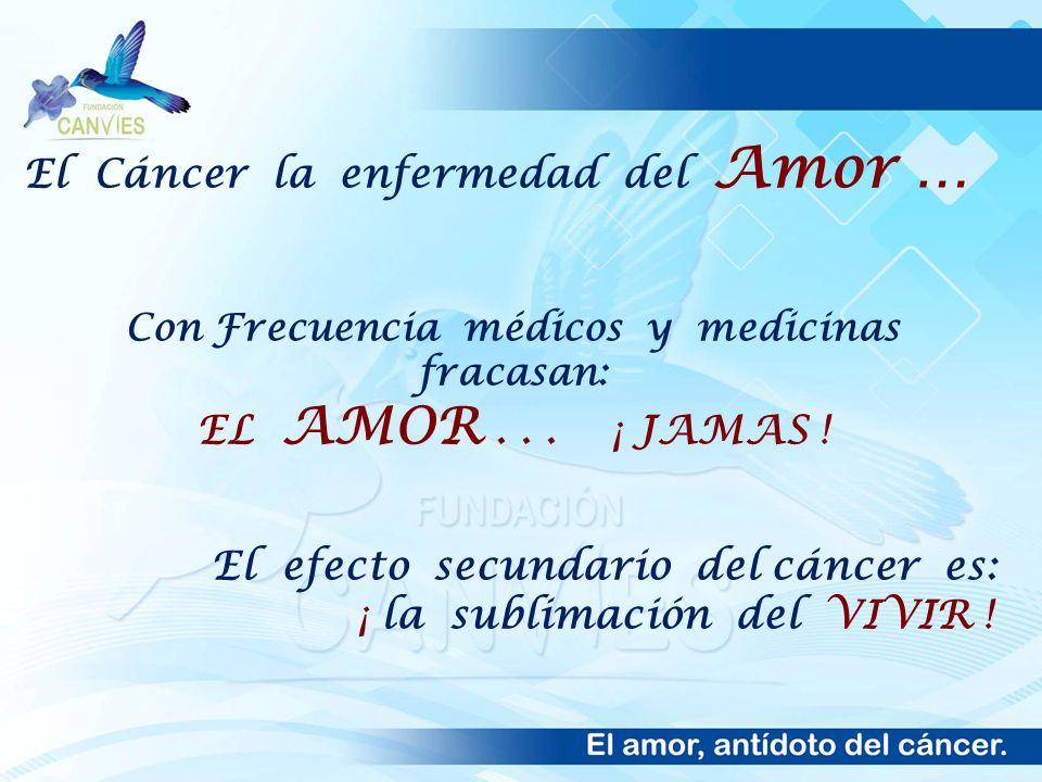 El Cáncer la enfermedad del Amor … Con Frecuencia médicos y medicinas fracasan: EL AMOR... ¡ JAMAS ! El efecto secundario del cáncer es: ¡ la sublimac