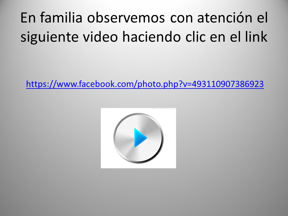 En familia observemos con atención el siguiente video haciendo clic en el link https://www.facebook.com/photo.php?v=493110907386923