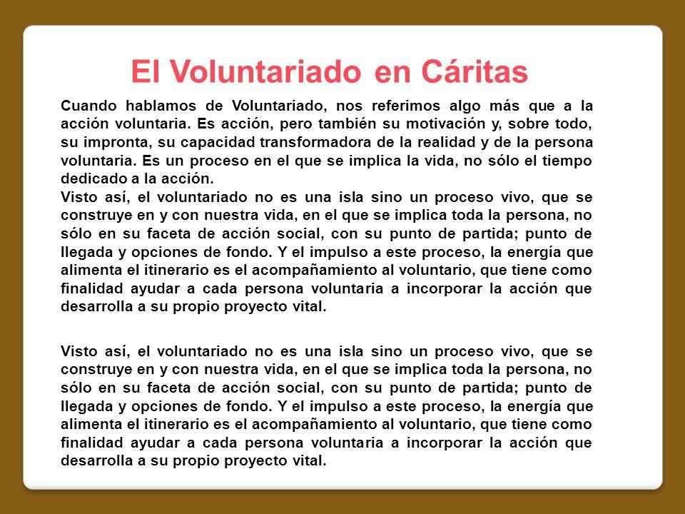 El Voluntariado en Cáritas Cuando hablamos de Voluntariado, nos referimos algo más que a la acción voluntaria. Es acción, pero también su motivación y