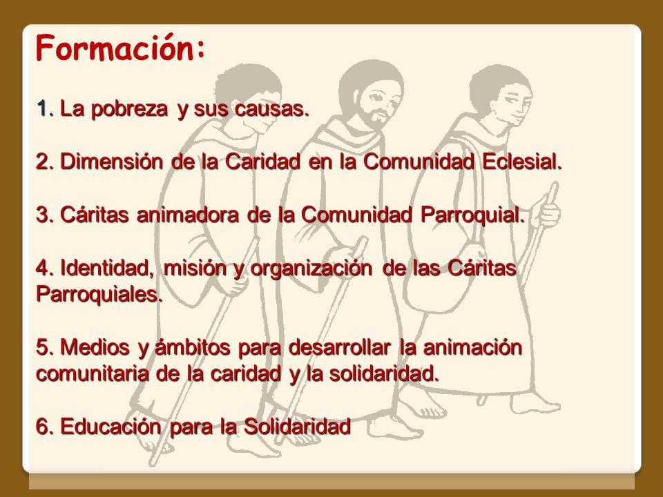 Formación: 1. La pobreza y sus causas. 2. Dimensión de la Caridad en la Comunidad Eclesial. 3. Cáritas animadora de la Comunidad Parroquial. 4. Identi