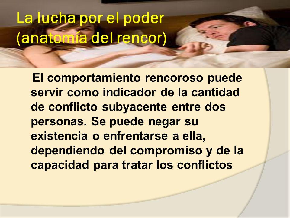 La lucha por el poder (anatomía del rencor) El comportamiento rencoroso puede servir como indicador de la cantidad de conflicto subyacente entre dos personas.