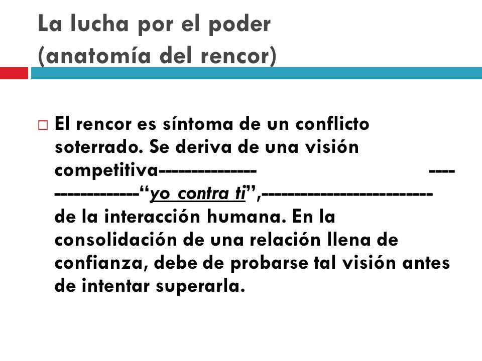 La lucha por el poder (anatomía del rencor) El rencor es síntoma de un conflicto soterrado.