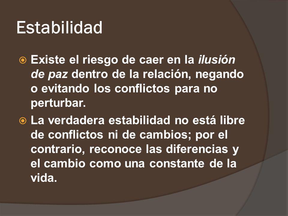 Estabilidad Existe el riesgo de caer en la ilusión de paz dentro de la relación, negando o evitando los conflictos para no perturbar.