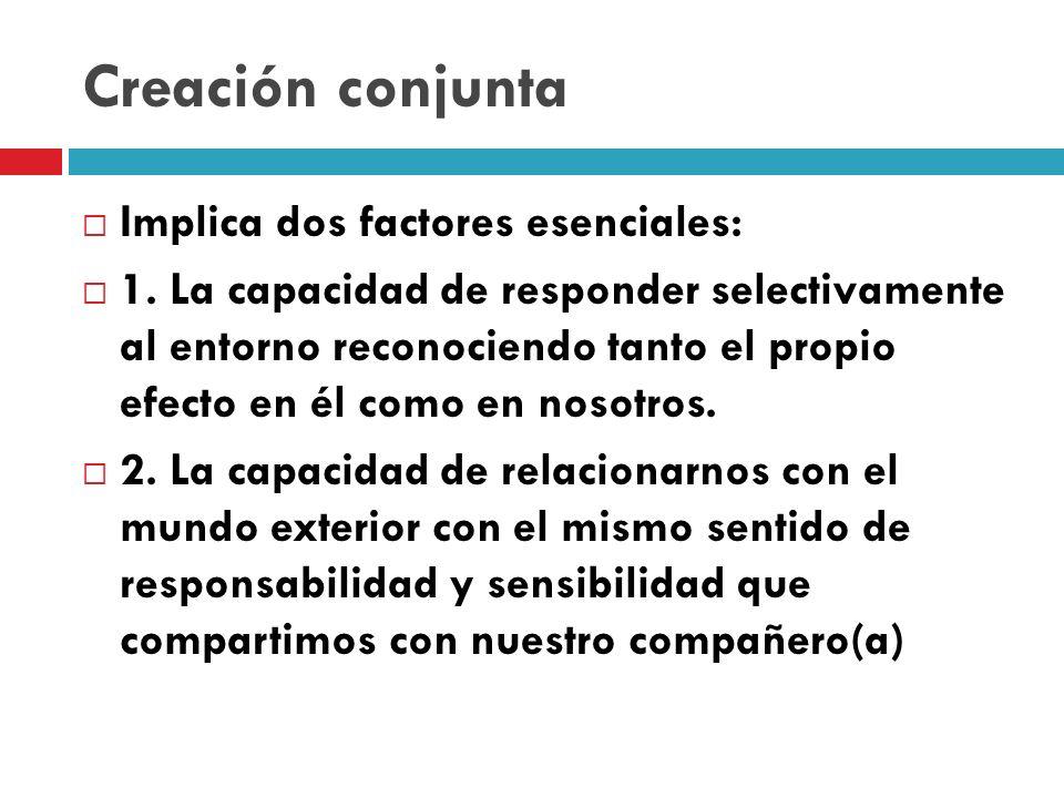 Creación conjunta Implica dos factores esenciales: 1.