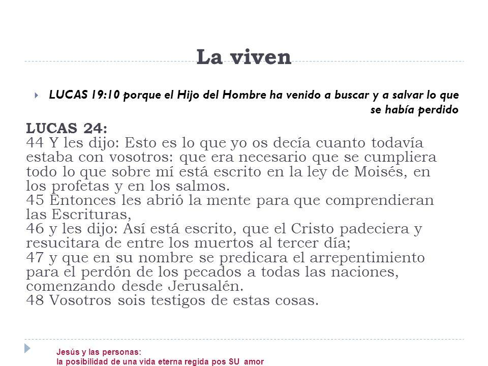 LUCAS 19:10 porque el Hijo del Hombre ha venido a buscar y a salvar lo que se había perdido La viven LUCAS 24: 44 Y les dijo: Esto es lo que yo os dec