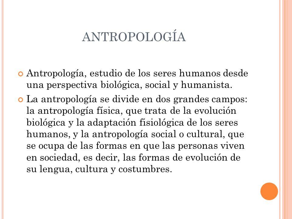 ANTROPOLOGÍA Antropología, estudio de los seres humanos desde una perspectiva biológica, social y humanista. La antropología se divide en dos grandes