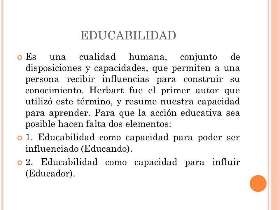 EDUCABILIDAD Es una cualidad humana, conjunto de disposiciones y capacidades, que permiten a una persona recibir influencias para construir su conocim