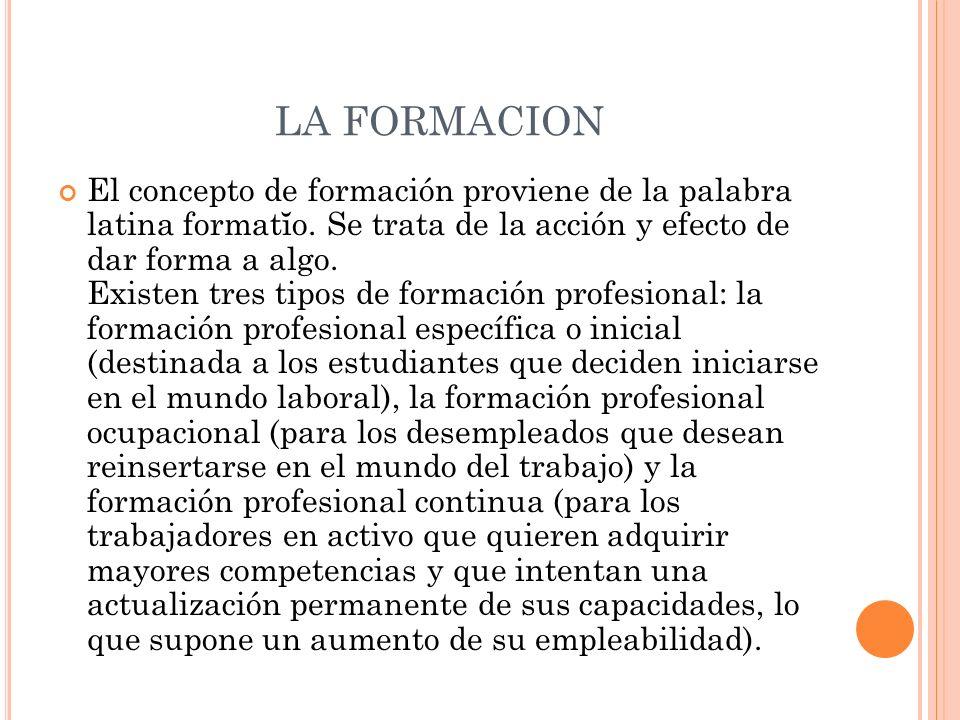 LA FORMACION El concepto de formación proviene de la palabra latina formatĭo. Se trata de la acción y efecto de dar forma a algo. Existen tres tipos d