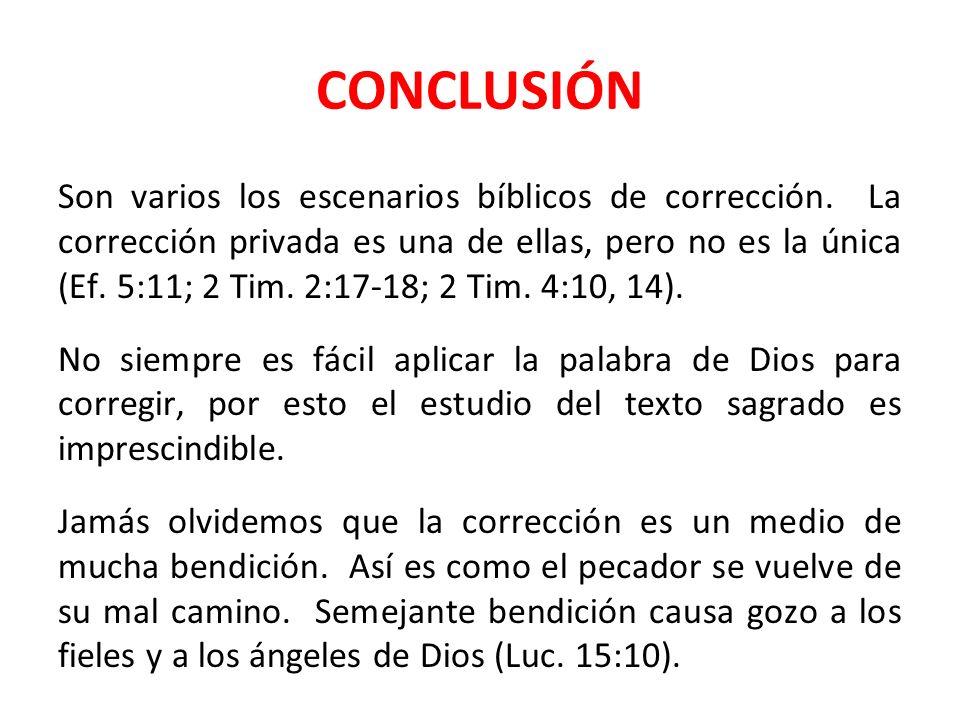 CONCLUSIÓN Son varios los escenarios bíblicos de corrección. La corrección privada es una de ellas, pero no es la única (Ef. 5:11; 2 Tim. 2:17-18; 2 T