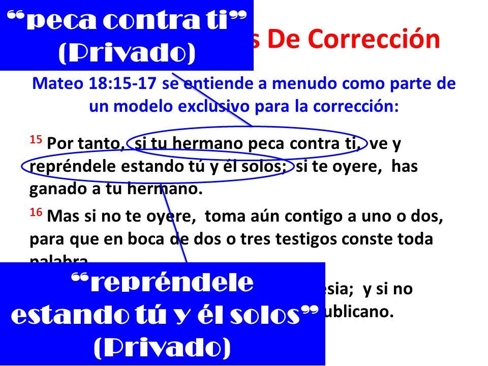Métodos Bíblicos De Corrección Mateo 18:15-17 se entiende a menudo como parte de un modelo exclusivo para la corrección: 15 Por tanto, si tu hermano p