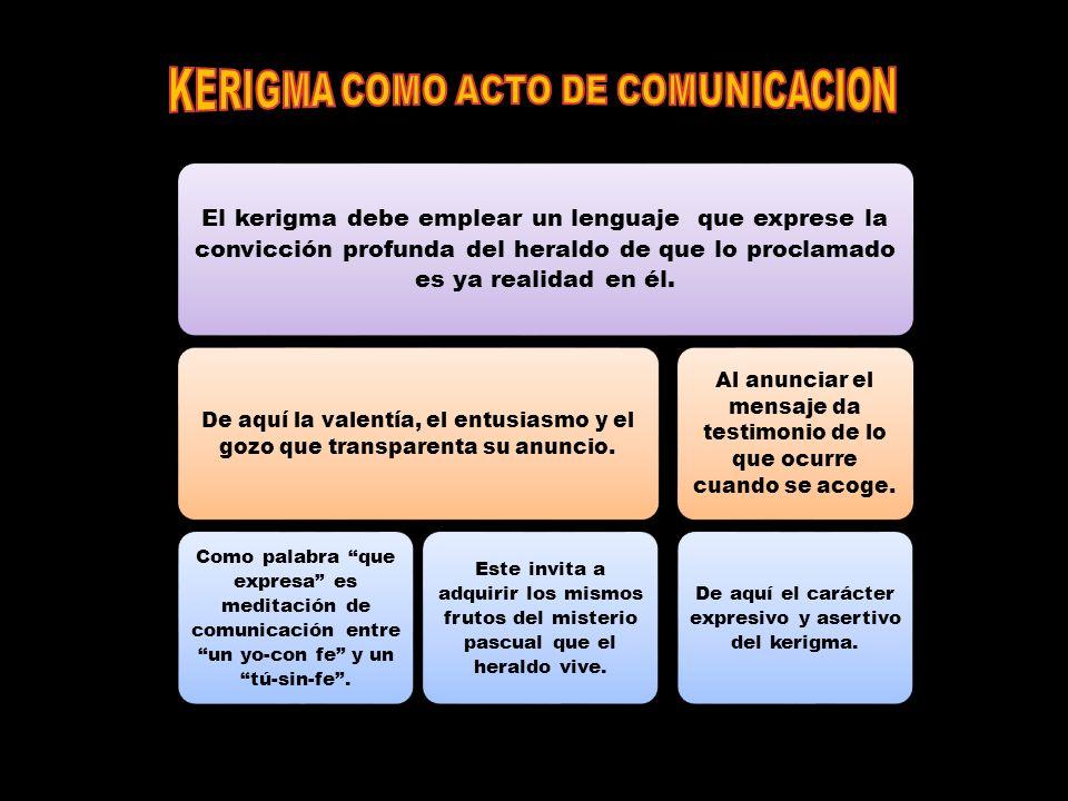 El kerigma debe emplear un lenguaje que exprese la convicción profunda del heraldo de que lo proclamado es ya realidad en él.