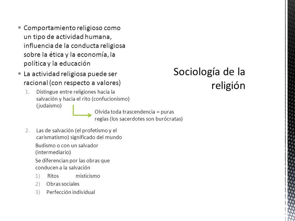 Comportamiento religioso como un tipo de actividad humana, influencia de la conducta religiosa sobre la ética y la economía, la política y la educació