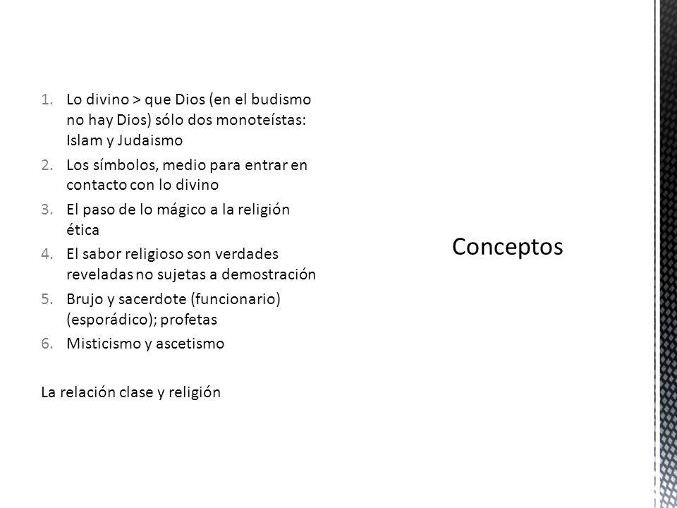 1.Lo divino > que Dios (en el budismo no hay Dios) sólo dos monoteístas: Islam y Judaismo 2.Los símbolos, medio para entrar en contacto con lo divino