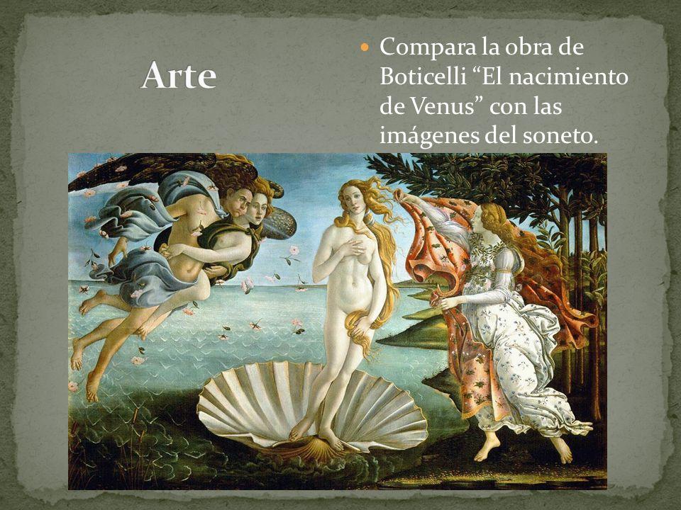Compara la obra de Boticelli El nacimiento de Venus con las imágenes del soneto.