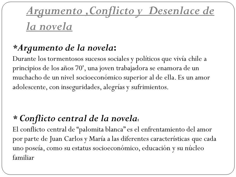 Argumento,Conflicto y Desenlace de la novela * Argumento de la novela: Durante los tormentosos sucesos sociales y políticos que vivía chile a principi