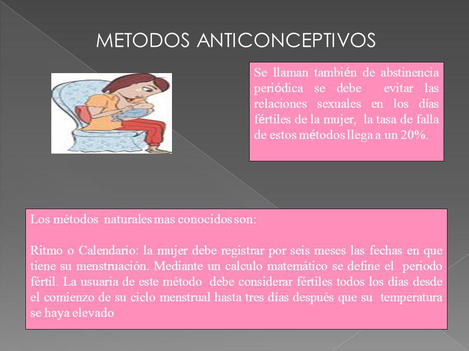 Moco Cervical o Método Billings: se basa en los cambios del moco cervical se hacen mas evidentes durante los días de la ovulación.