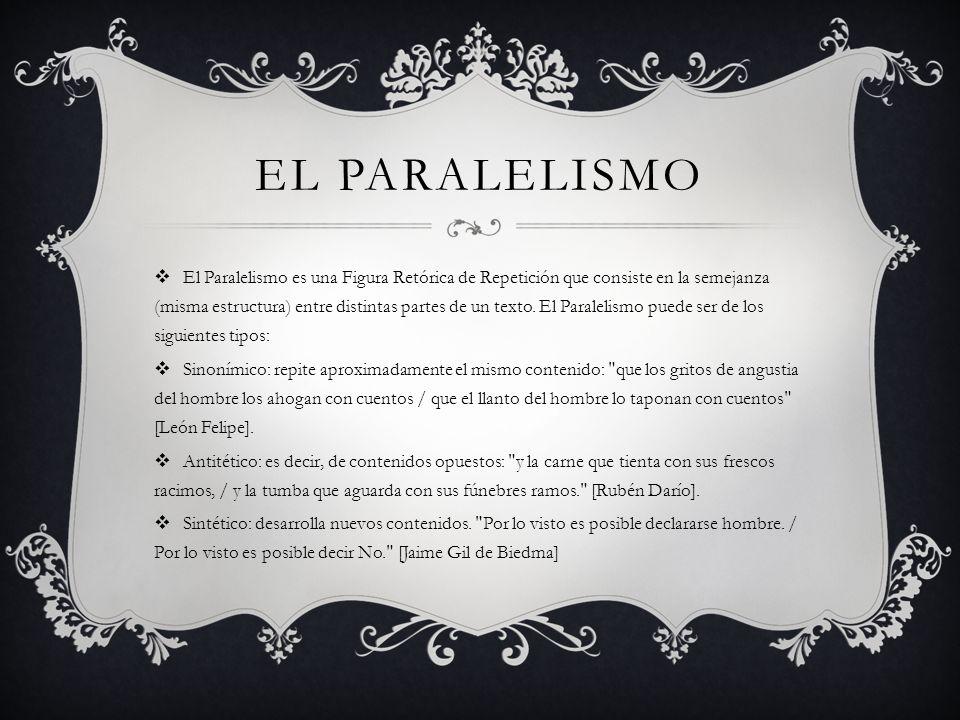 EL PARALELISMO El Paralelismo es una Figura Retórica de Repetición que consiste en la semejanza (misma estructura) entre distintas partes de un texto.