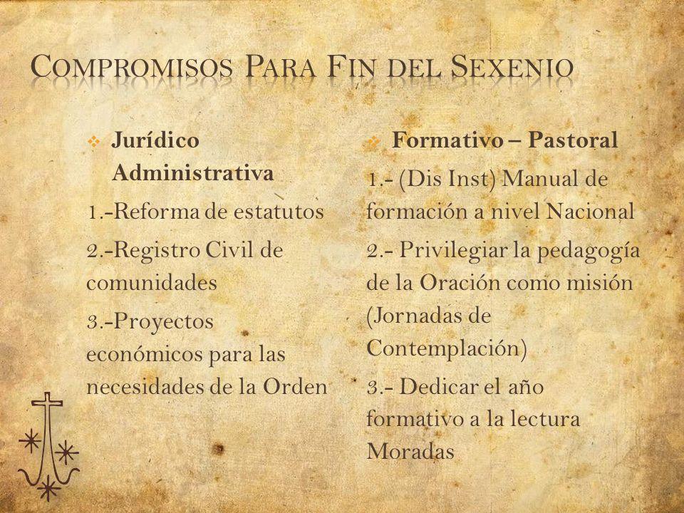 Jurídico Administrativa 1.-Reforma de estatutos 2.-Registro Civil de comunidades 3.-Proyectos económicos para las necesidades de la Orden Formativo –