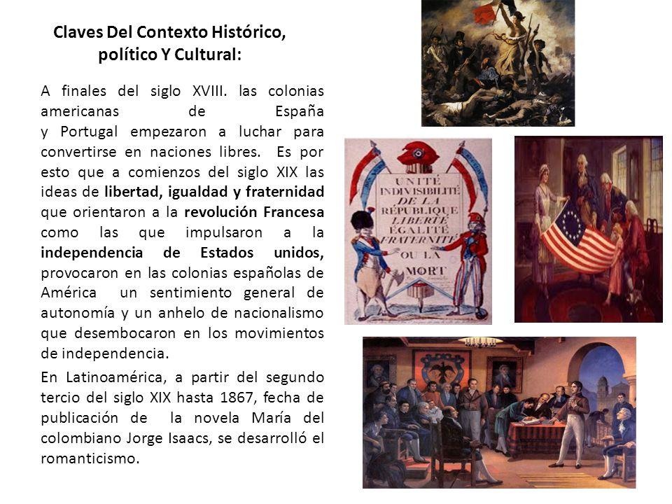 Claves Del Contexto Histórico, político Y Cultural: A finales del siglo XVIII. las colonias americanas de España y Portugal empezaron a luchar para co